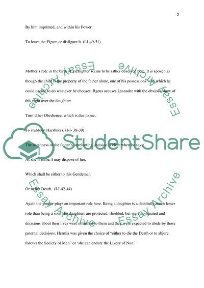 Shakespeares A Midsummer Nights Dream Essay Example  Topics And  Shakespeares A Midsummer Nights Dream
