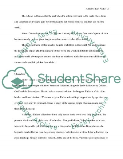 Riddley Walker and Enders Game essay example