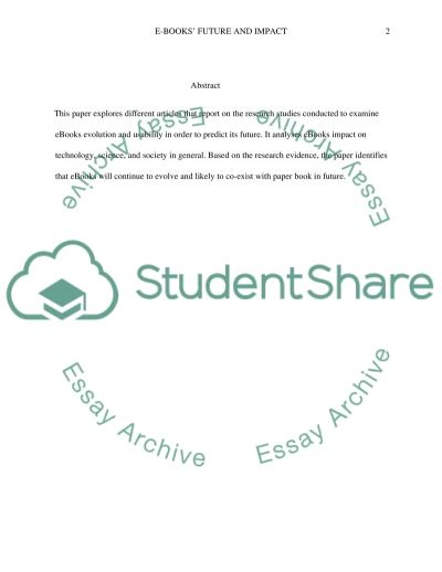 E-books in relation to technology, science, and their impact on society. Where will they be in 2060 essay example