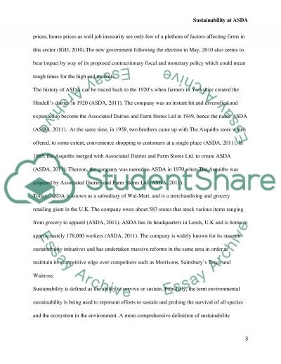 Sustainability at ASDA Essay example