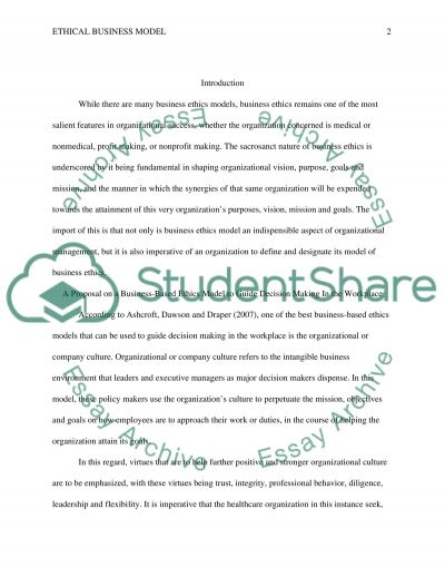 Ethical Business Model essay example