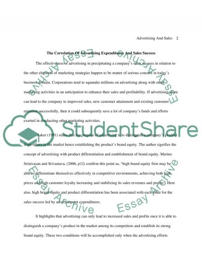 Advertising And Sales essay example