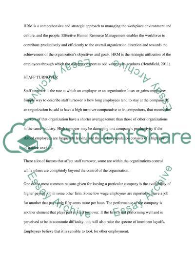 staff turnover essay