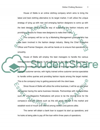 Online clothing Business Plan essay example