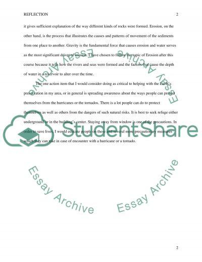 Reflection essay example
