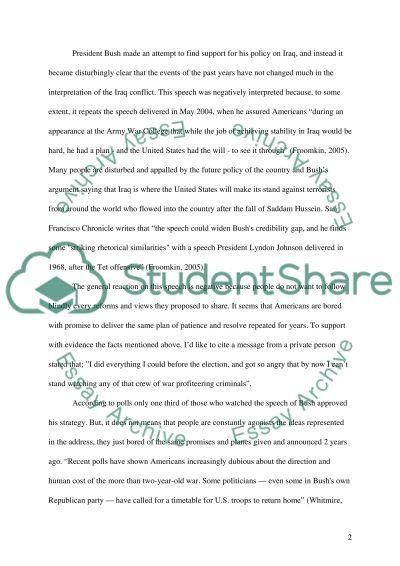 President Bushs speech about Iraq essay example
