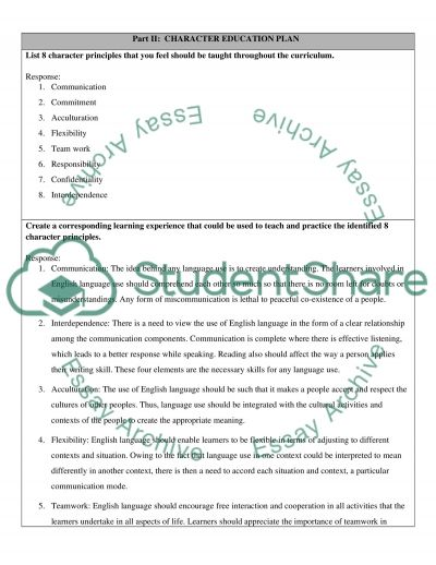 Horizontal Map and Curriculum Chart essay example