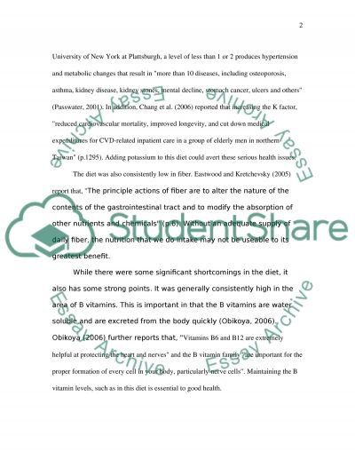 Nutrition College Essay essay example