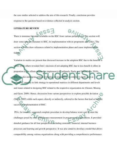 Implementation of Balance Score Card (BSC) essay example