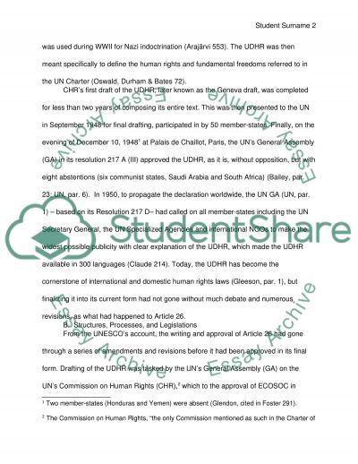 Human Rights: Article 26 of the Universal Declaration of Human Rights essay example