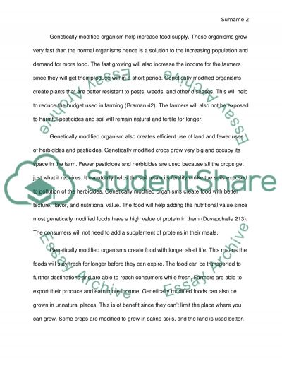 What are the pros and cons of Genetically Modified Organisms essay example