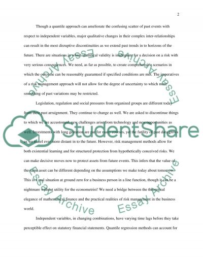 A Risk Management Approach to Business Valuation essay example