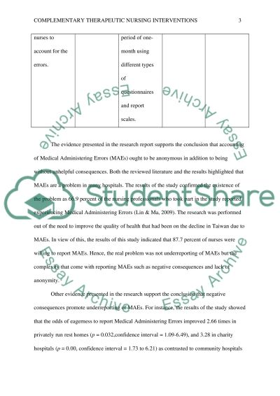 Complementary Therapeutic Nursing Interventions essay example