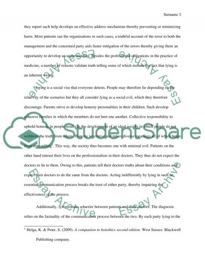 Truth Telling essay example