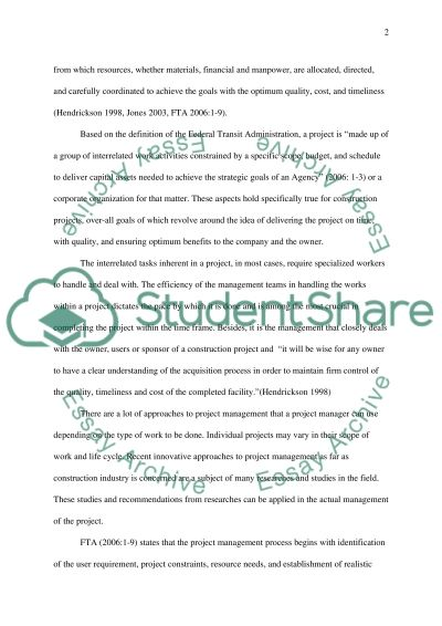 Effective Management in Construction Industry essay example