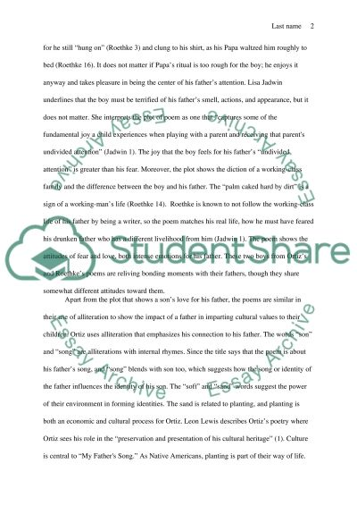 my father s song poem analysis essay example topics and well  my fathers song poem analysis essay example