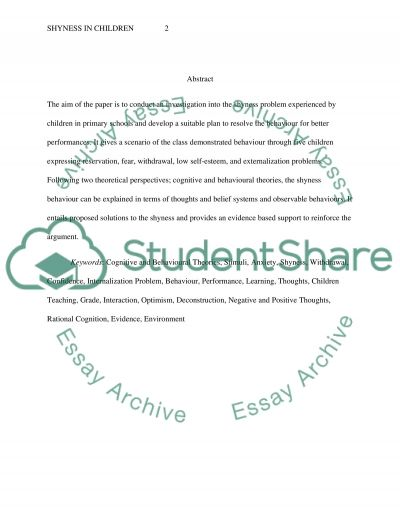 Resolving Shyness in Children to Enhance Performances essay example