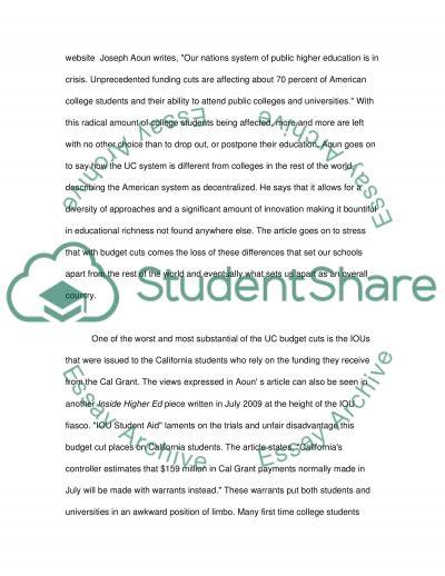 UC budget crisis essay example