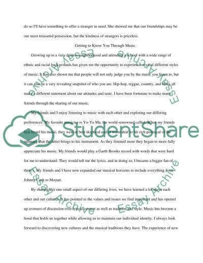 The Kindness of Strangers essay example