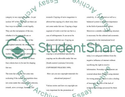 Copyright and Student Use essay example