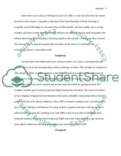 Antisocial Personality Disorder essay example