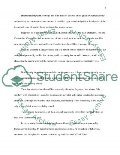 Eternal Sunshine of the Spotless Mind Movie essay example
