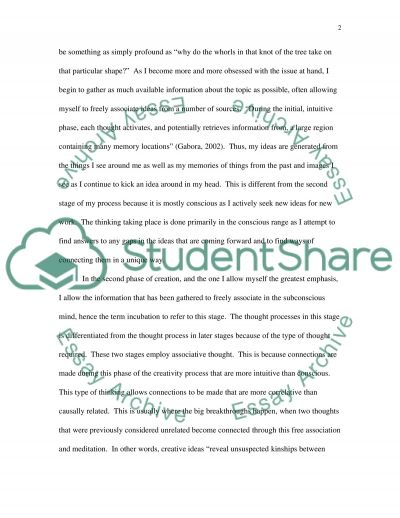 Creative process essay example