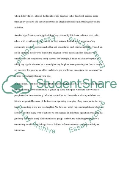 Write an essay examining the operating principles for a community to which I belong to essay example