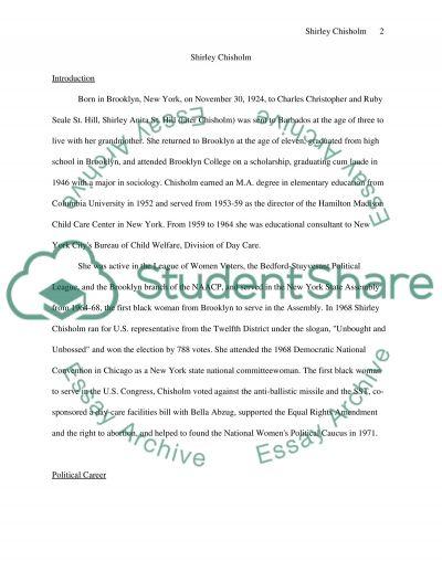 Shirley Chisholm essay example