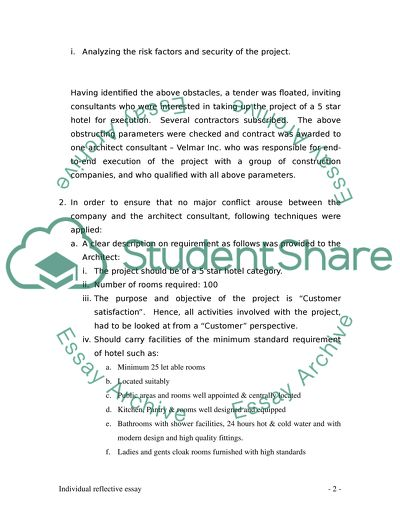 An individual reflective essay report