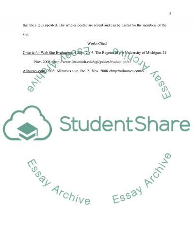 An Evaluation of the Web Site allnurses.com essay example