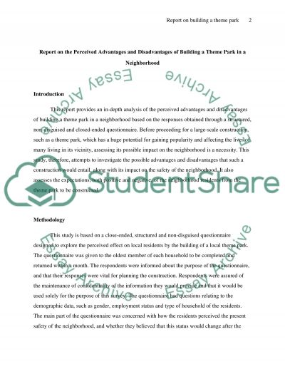 Report on the Perceived Advantages and Disadvantages of Building a Theme Park in a Neighbourhood Essay example