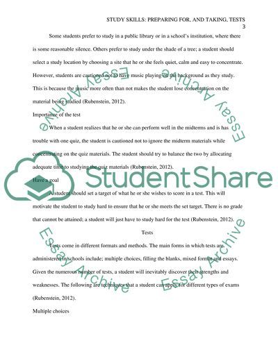 Study skills: Preparing for, and taking, tests