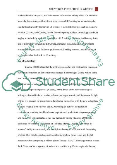 Strategies in Teaching L2 Writing