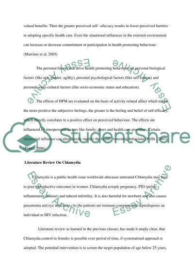 Course Project: Health Promotion Project/health promotion theory believe essay example
