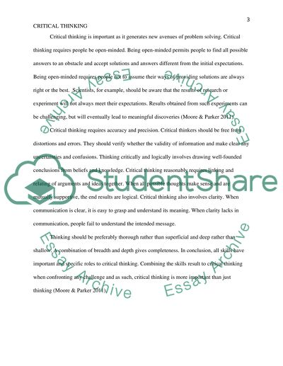 essay about critical thinking