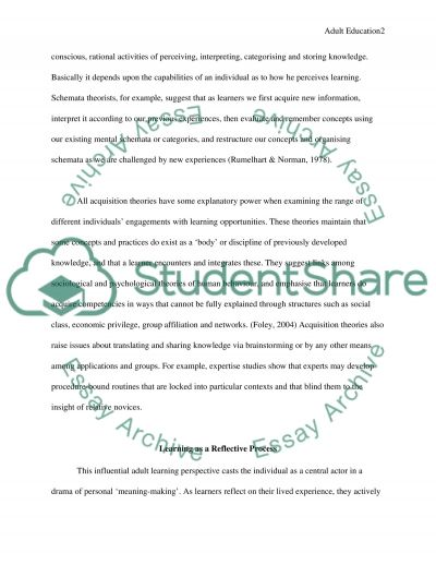 Principles of Adult Education essay example