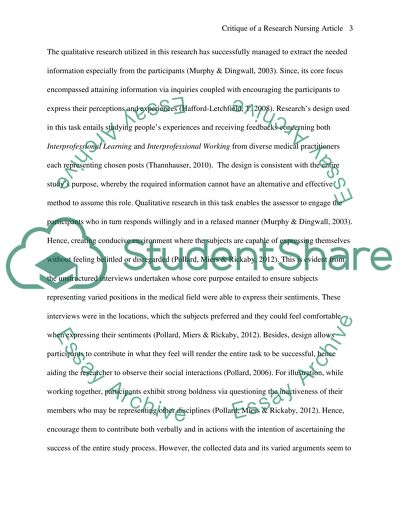 Critique of a research nursing article Assignment