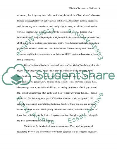 Effects of divorce on children Essay essay example