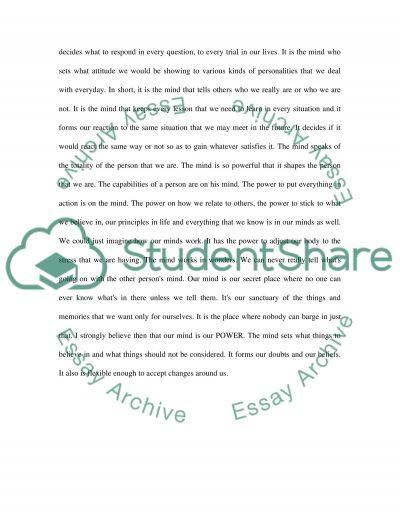 Essay on mind power