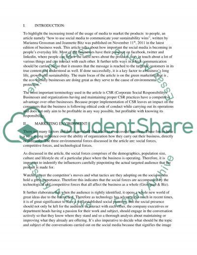Marketing: Environmental Scan essay example