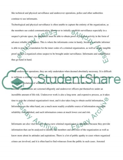 Why Are Informants Necessary To Effectively Combat Organized Crime essay example
