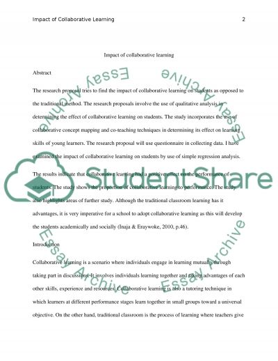 Impact of collaborative learning essay example