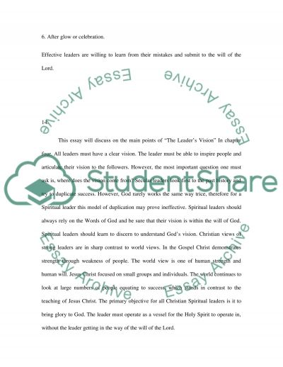 The Leaders Preparation essay example
