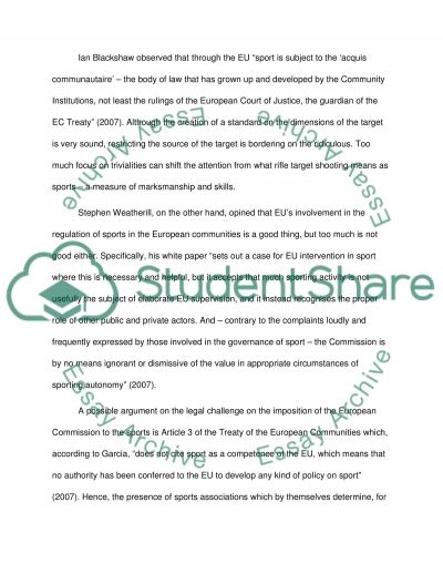 The Regulation of Sport Essay example