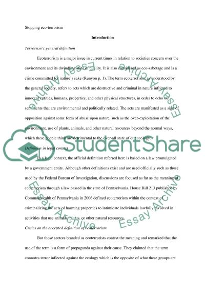 Ecoterrorism essay example
