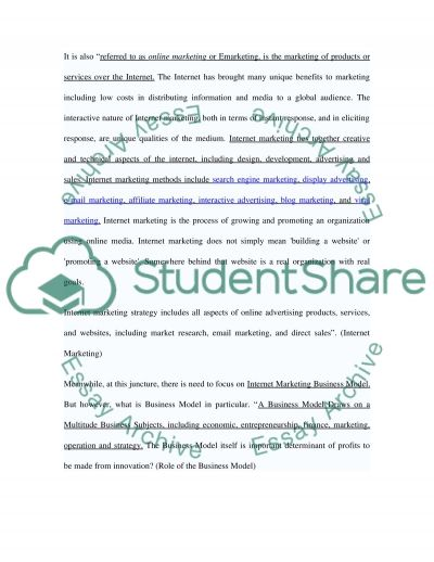 Internet and marketing strategy Essay example