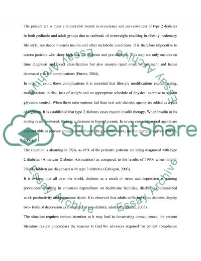 ASPECT OF COMPLIANCE TO TREATMENT IN RELATION TO THE DIAGNOSIS OF TYPE 2 DIABETES essay example