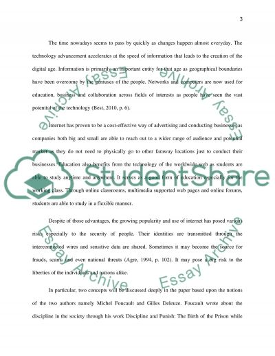 Notion of Disciplinary Societies and Societies of Control essay example