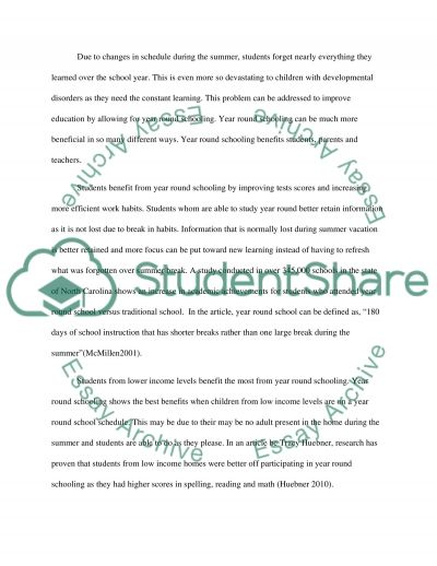 Year Round School System, Better Than Summer Vacation essay example